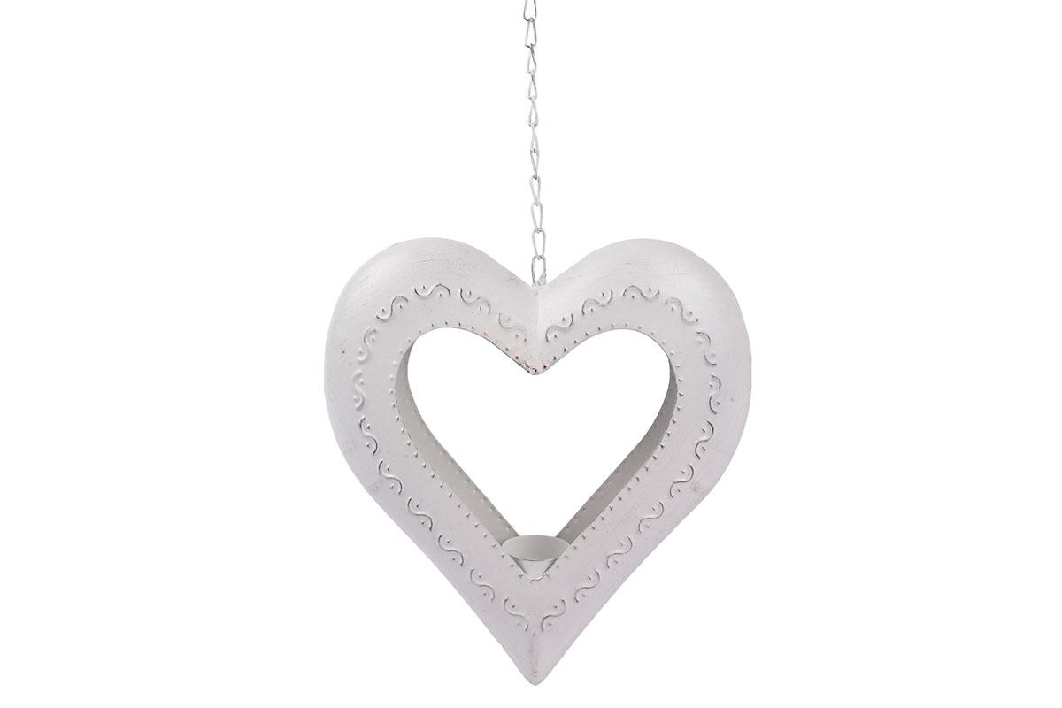 Srdce kovové - svícen na čajovou svíčku. Kovová dekorace na pověšení.