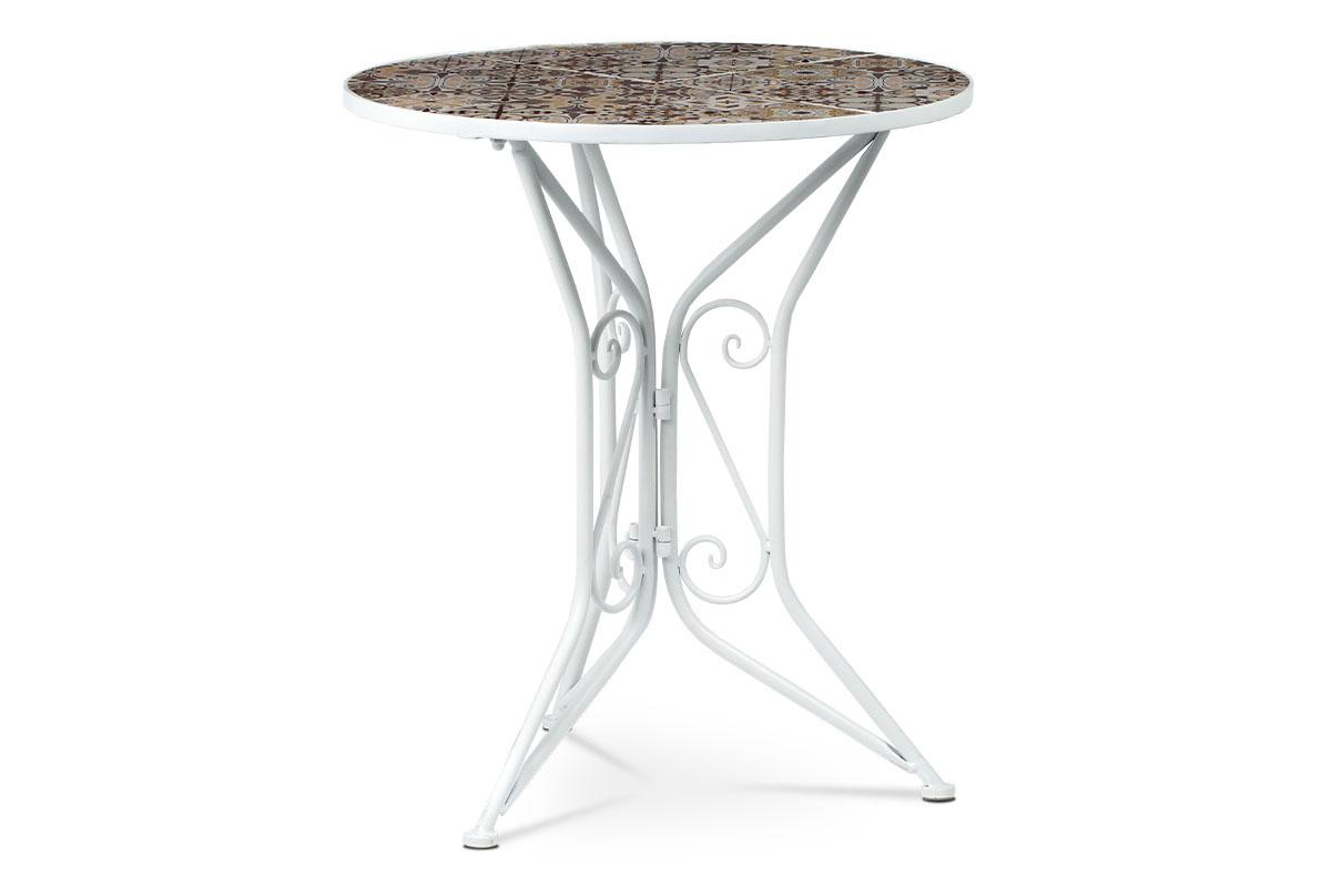 stôl kovový s mozaikovou doskou, biely kov