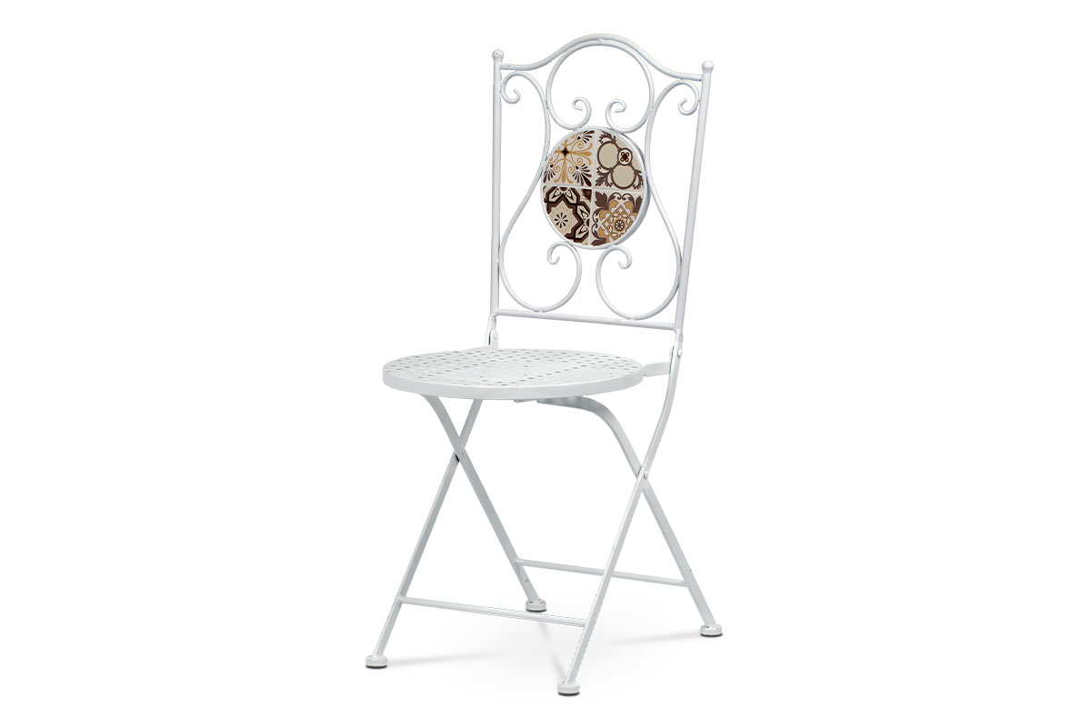 stolička kovová s mozaikou, biely kov