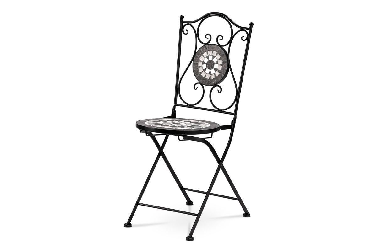 Židle kovová s mozaikou. Černý lak.