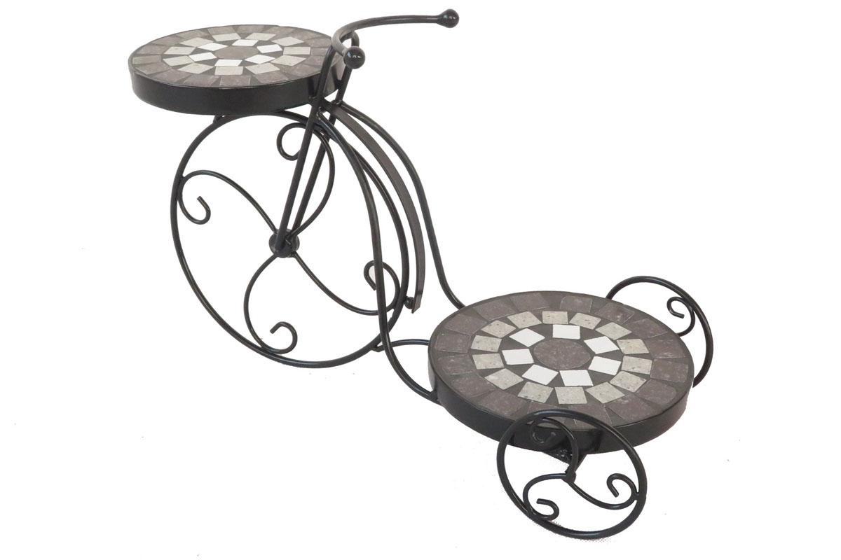 Stojan na květiny, tvar kola, kovový s mozaikou. Černý lak.