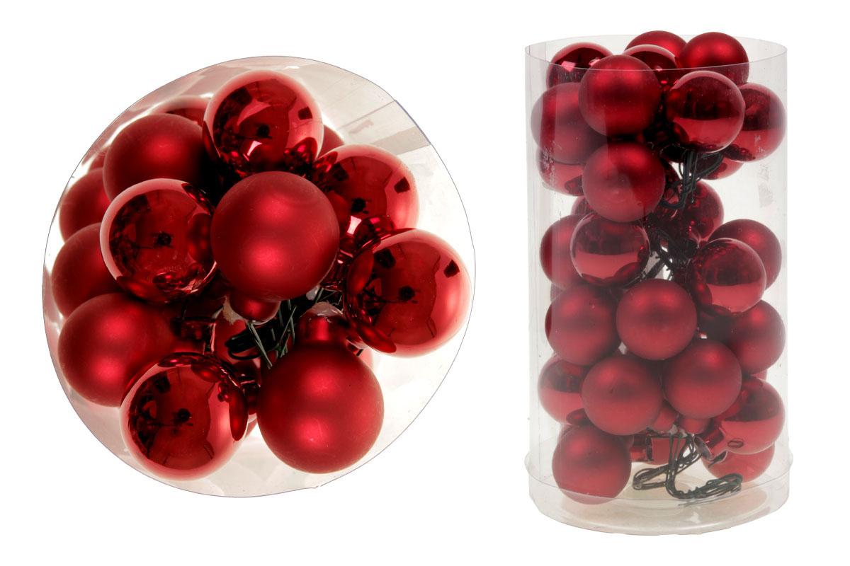 Ozdoby sklenené dekoračné na drôtiku, pr.2.5cm, cena za 36ks (6ks zväzok)