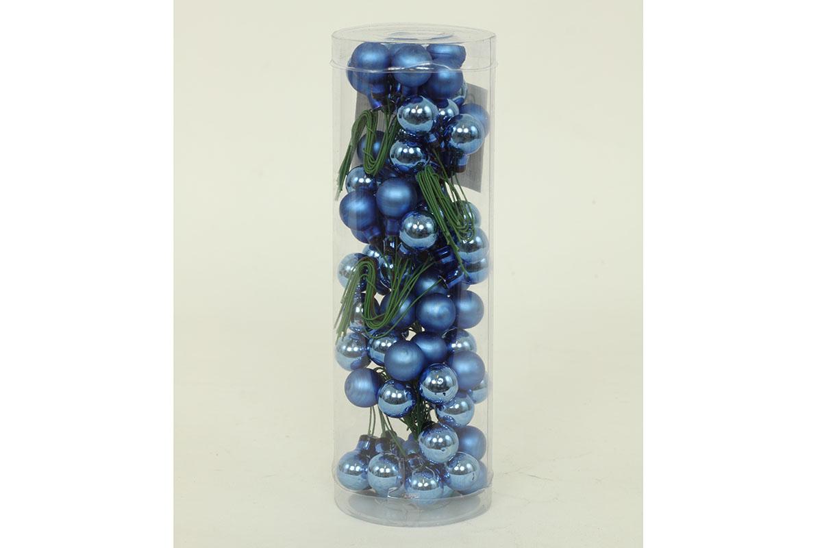 Ozdoby skleněné dekorační na drátku, pr.1.5cm, cena za 72ks (12ks svazek)