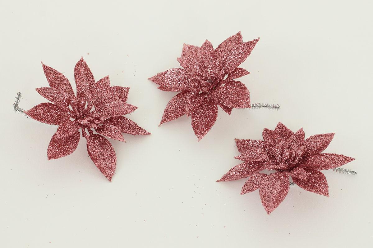 Dekoračný kvet na štipci, cena za sadu 3 kusov