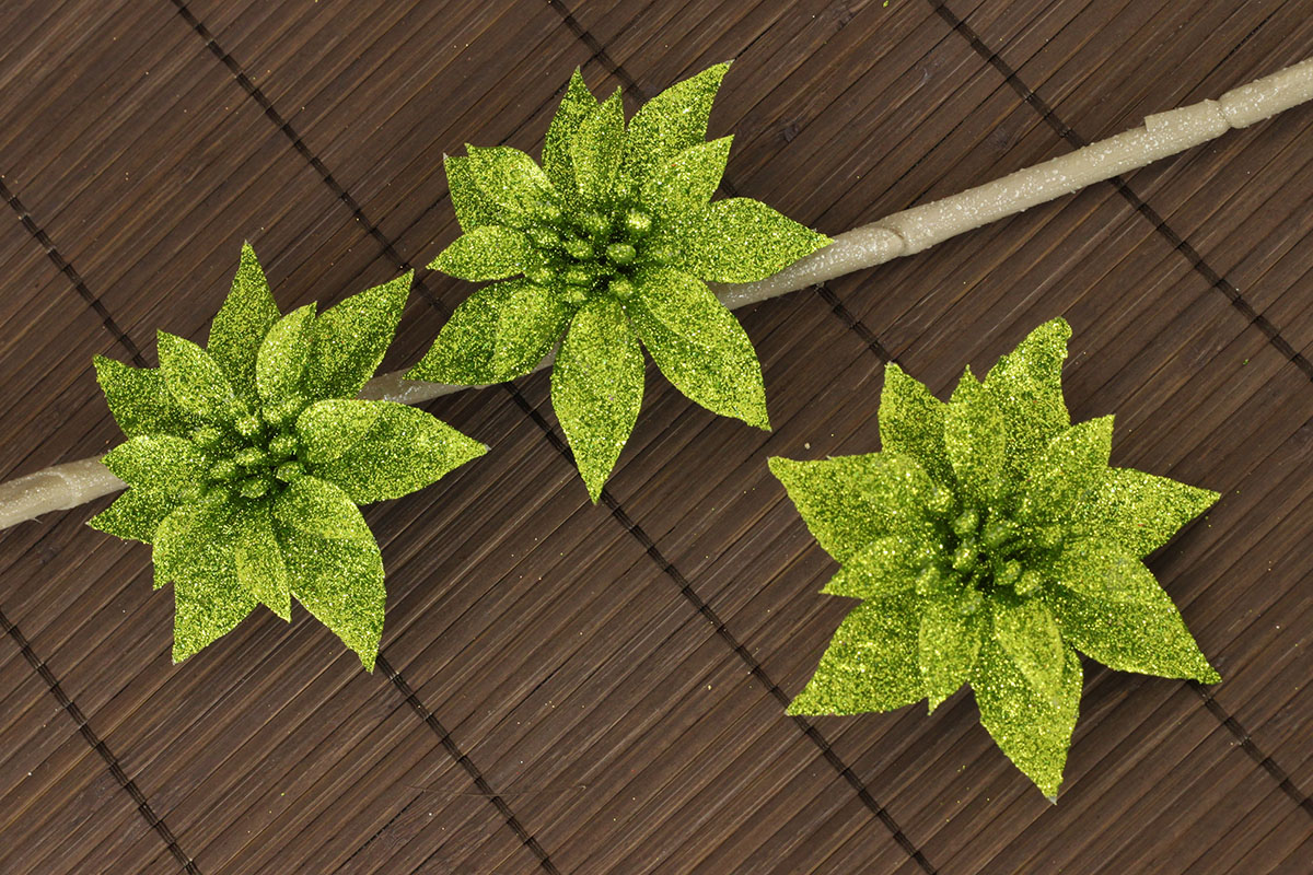 Květina zelená dekorační na klipu cena za sadu 3 kusy