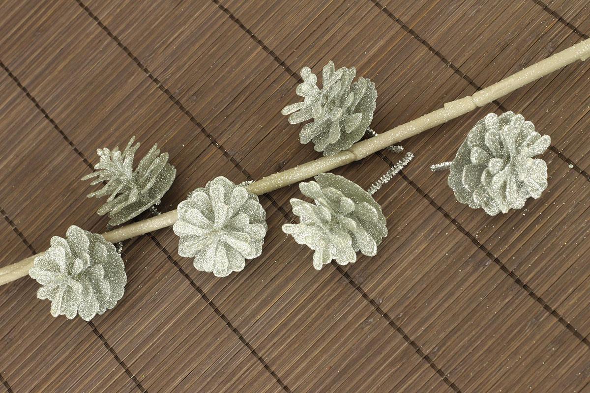Šiška stříbrná dekorační z plastu, cena za 6 kusů