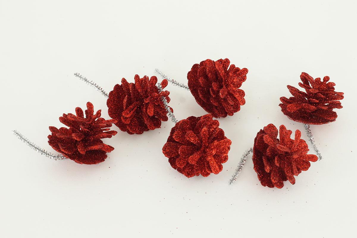 Šiška červená dekorační z plastu, cena za 6 kusů