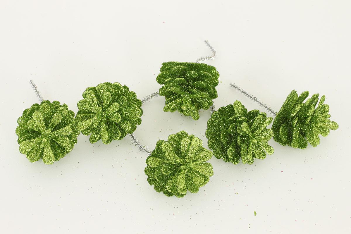Šiška zelená dekorační z plastu, cena za 6 kusů