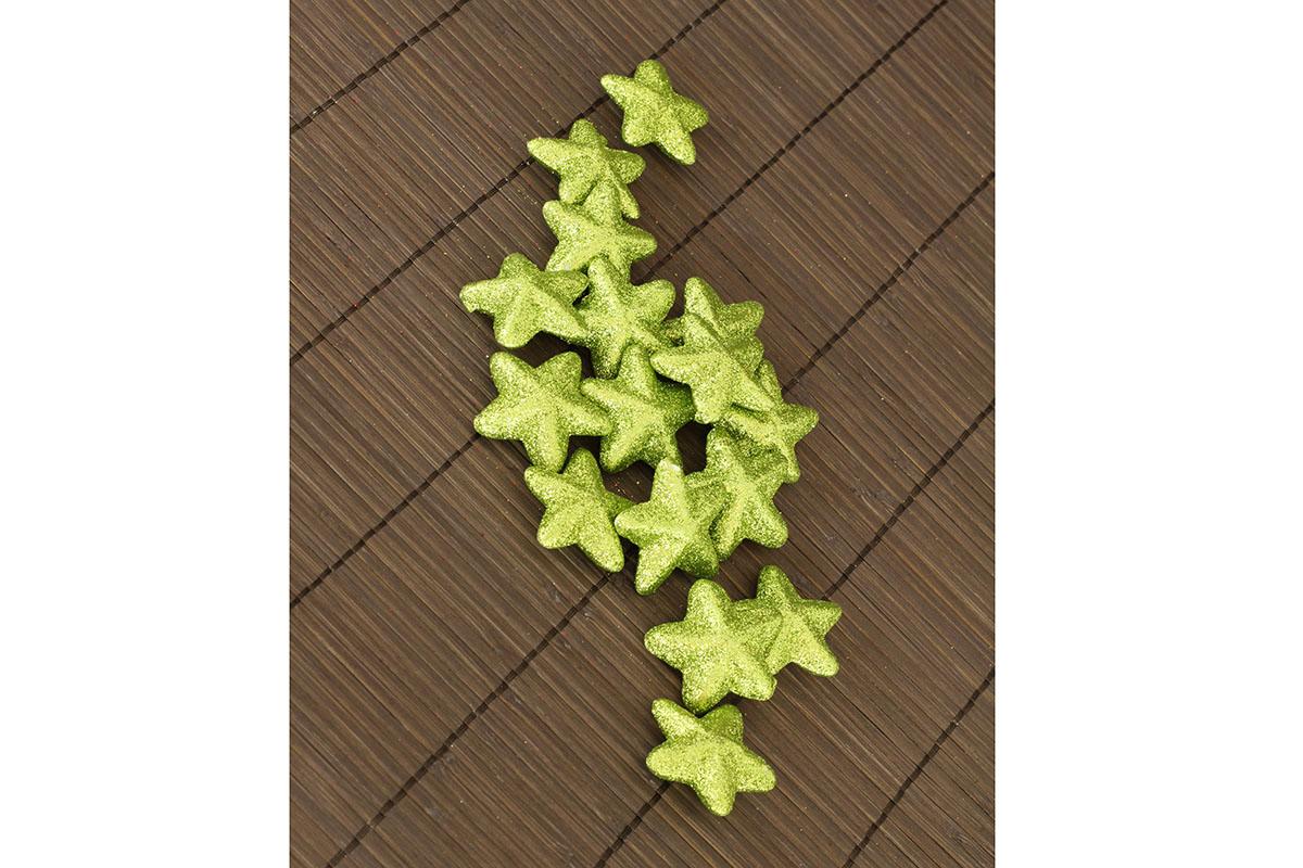 Hvězička zelená dekorační, cena za sadu 16 kusů