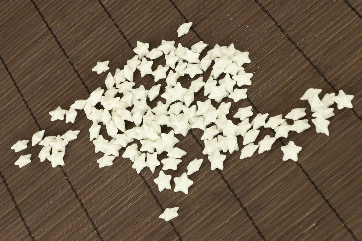 Dekoračná biela hviezdička, cena za sadu 120 kusov