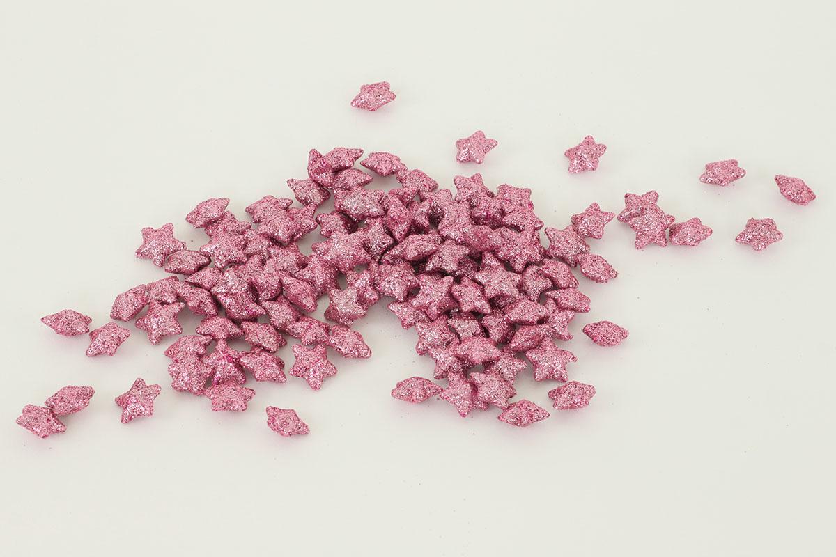 Hvězička růžová dekorační, cena za sadu 120 kusů