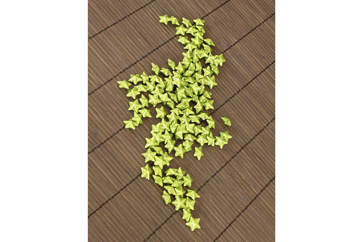 Hvězička zelená dekorační, cena za sadu 120 kusů