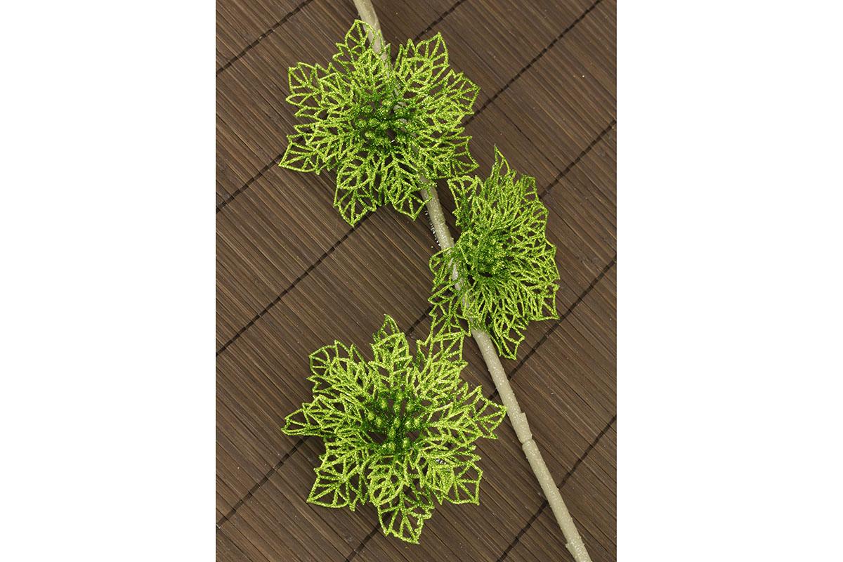 Kvet szelený dekoračný na drôtiku, cena za sadu 3 kusov