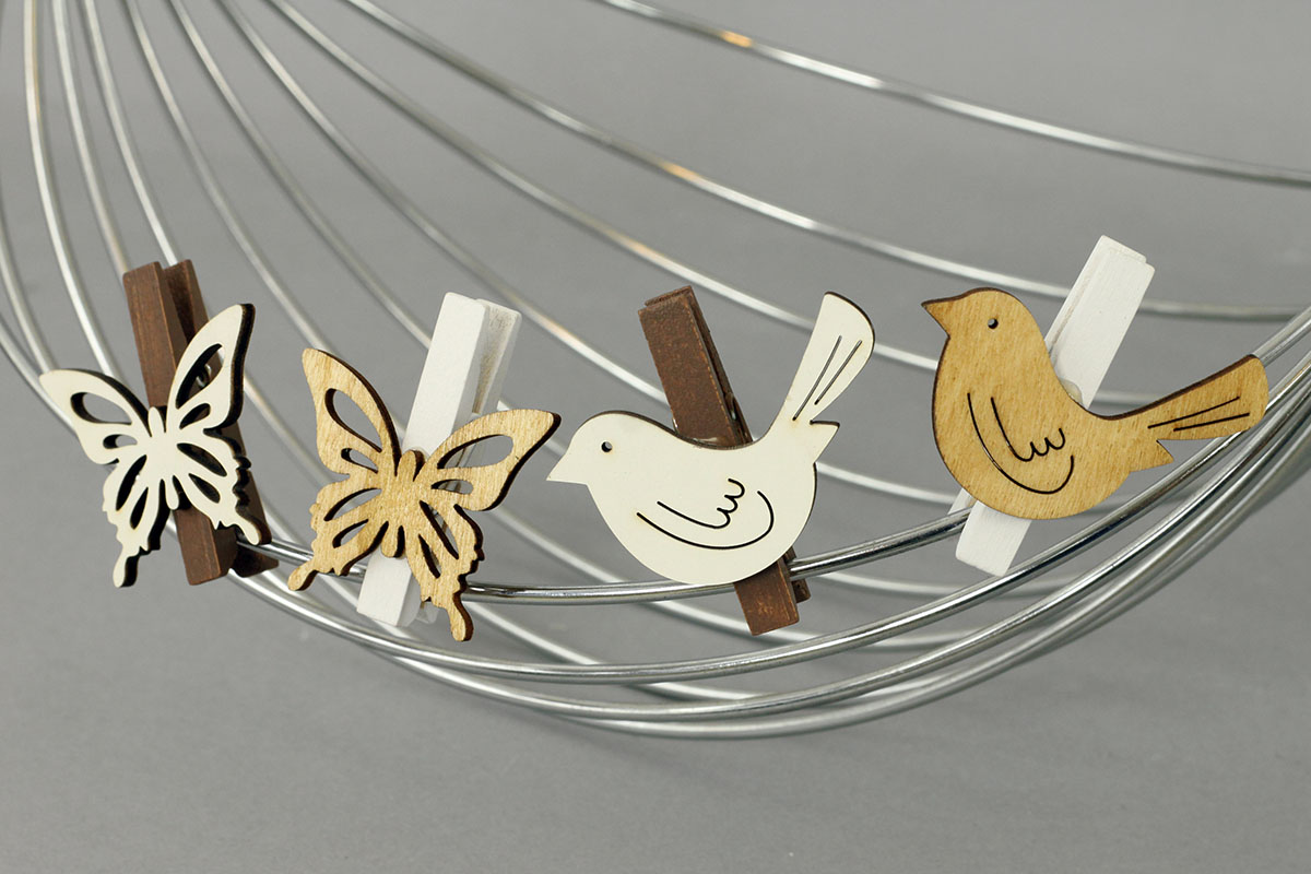 Motýly nebo ptáčci v sáčku 6 kusů, dřevěná dekorace na kolíčku, cena za 1  sáček