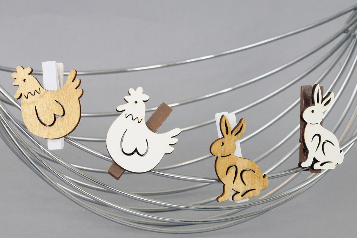 Králíčci nebo slepičky v sáčku 6 kusů, dřevěná dekorace na kolíčku, cena za 1 sáček