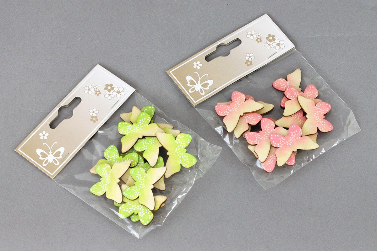 Motýľ na prilepenie, 12 kusov v sáčku, drevená dekorácia, cena za 1 sáčok