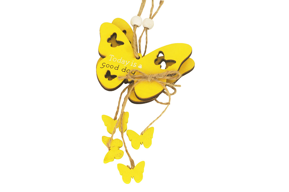Motýl, 2 kusy v sáčku, dřevěná dekorace na pověšení , cena za 1 sáček