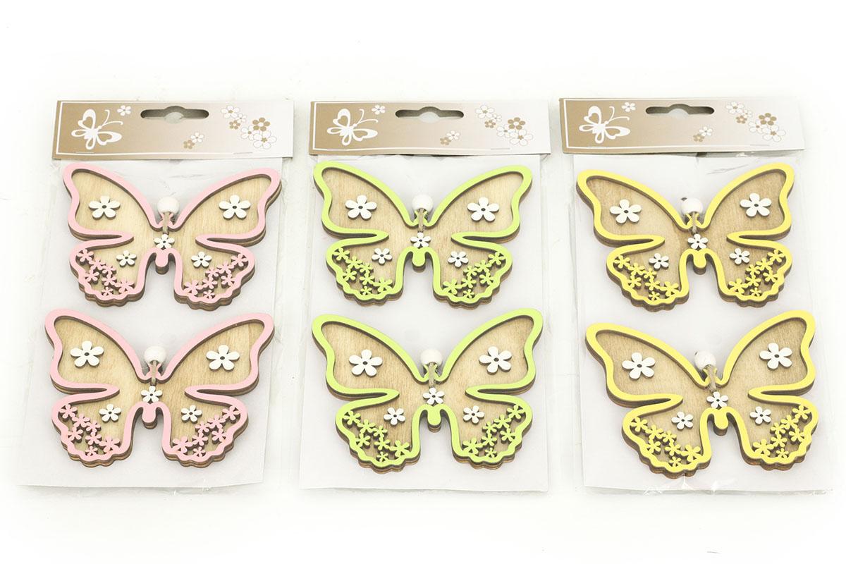 Motýľ, 2 kusy v sáčku, drevená dekorácia na zavesenie , cena za 1 sáčok