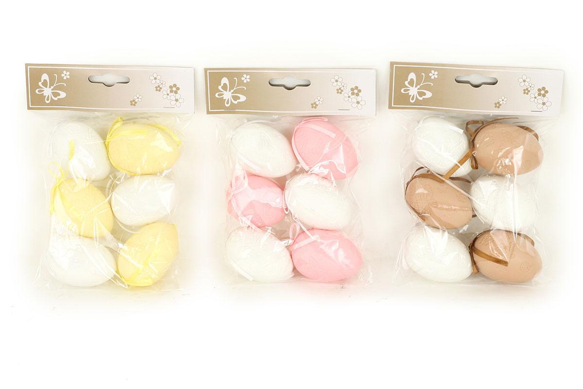 Vajíčka plastová 6cm, 6 kusů v sáčku, cena za 1 sáček