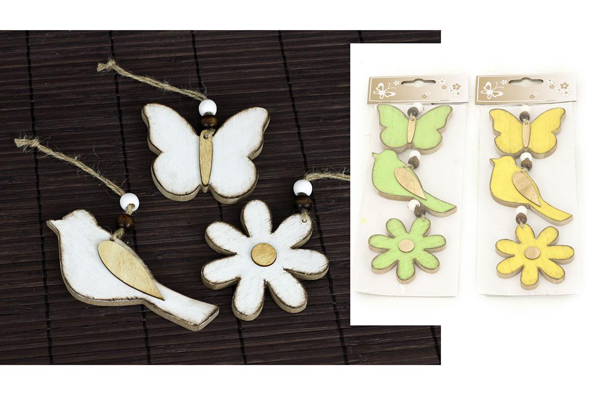 Motýl, ptáček a kytička, 3 kusy v sáčku,dřevěná dekorace na pověšení , cena za 1 sáček