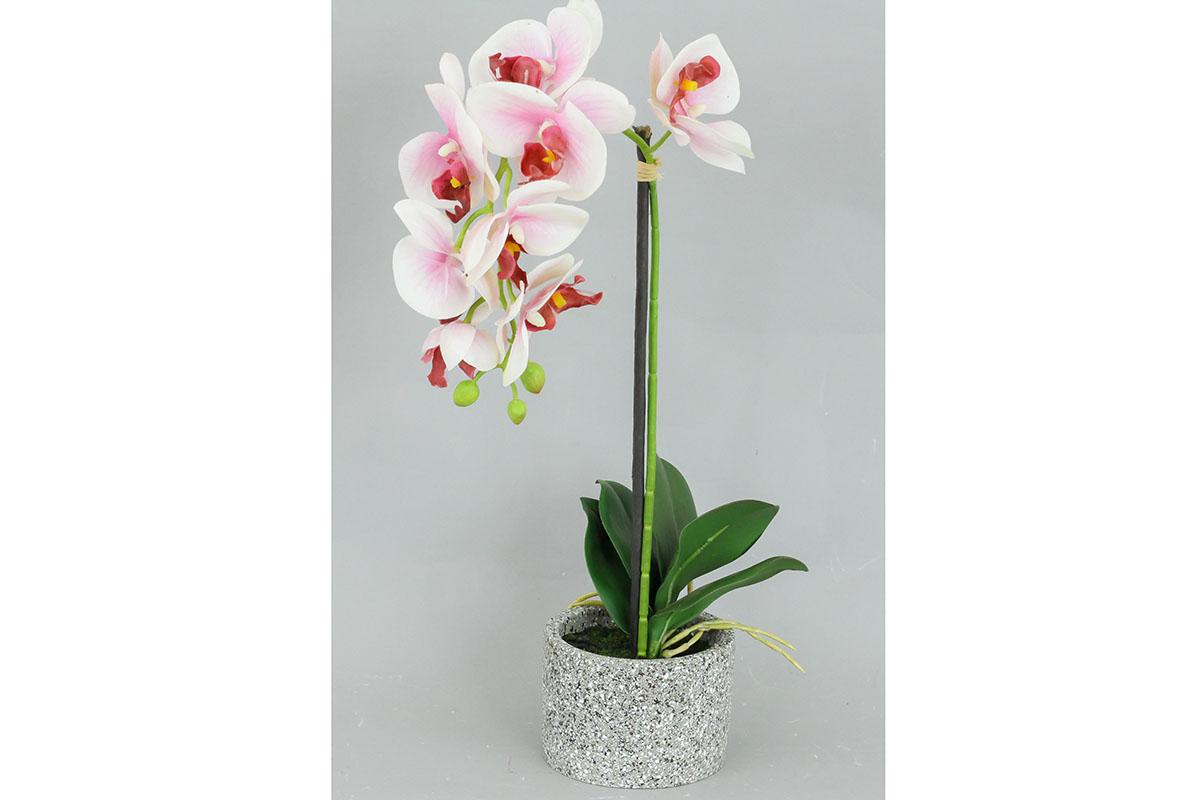Orchidea v betonovém květnáči, umělá květina, barva bílo-růžová
