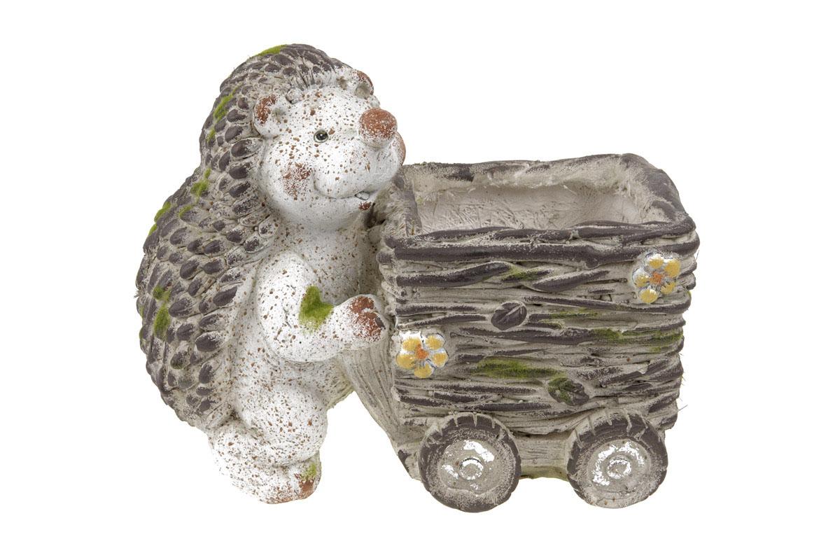 Ježeček,dekorace z MgO keramiky s otvorem na květináč