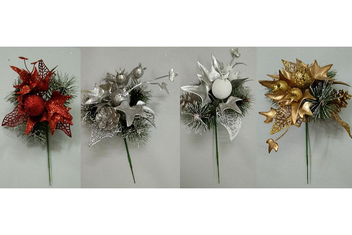 Přízdoba, umělá vánoční dekorace, mix 4 druhů, cena za 1 kus