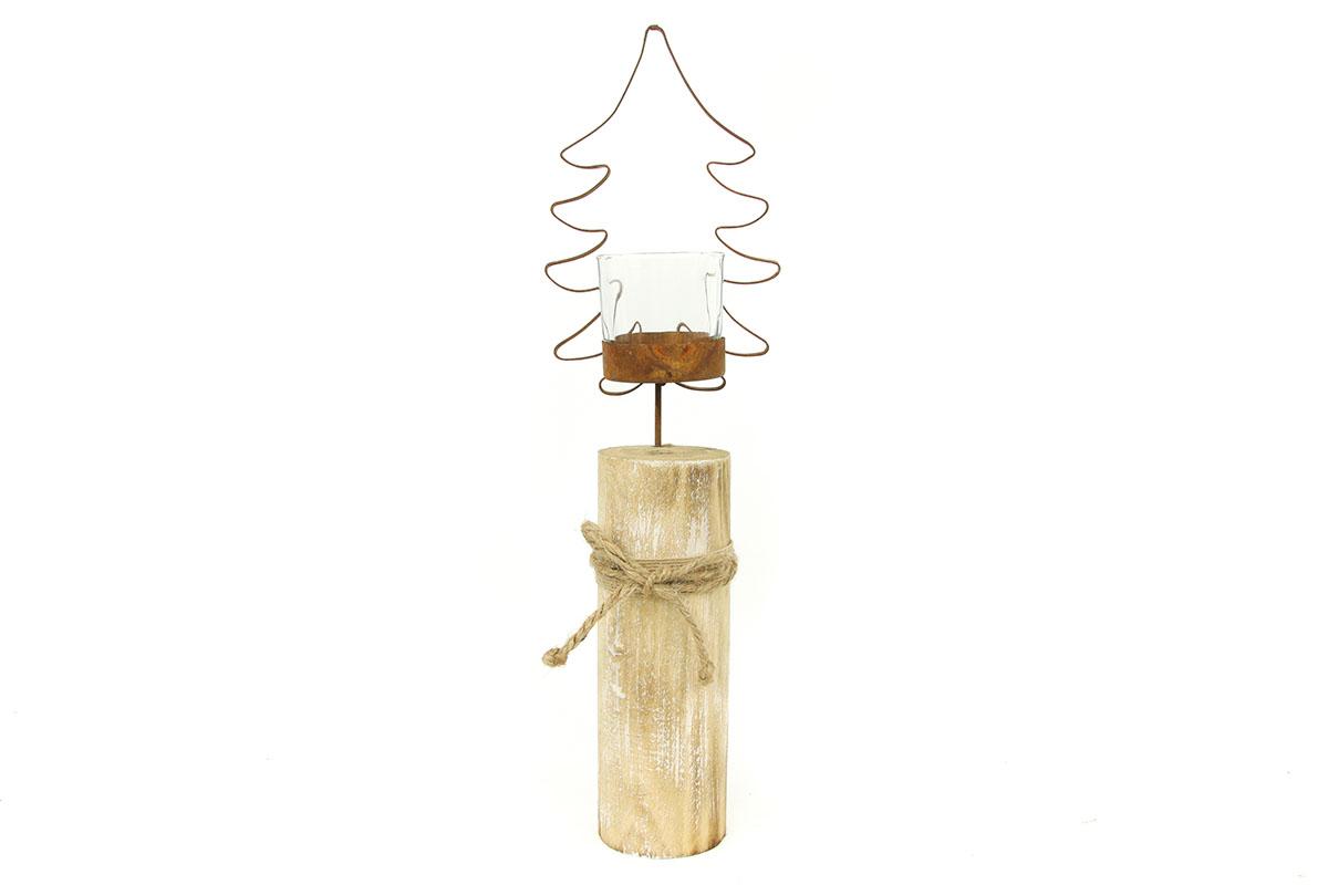 Svícen skleněný s dekorací z kovu na dřevěném podstavci