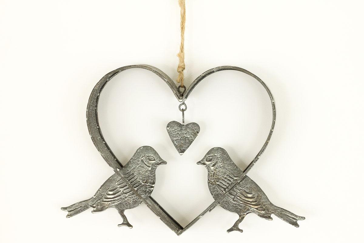 Srdiečko s vtáčikami, dekorácia z kovu