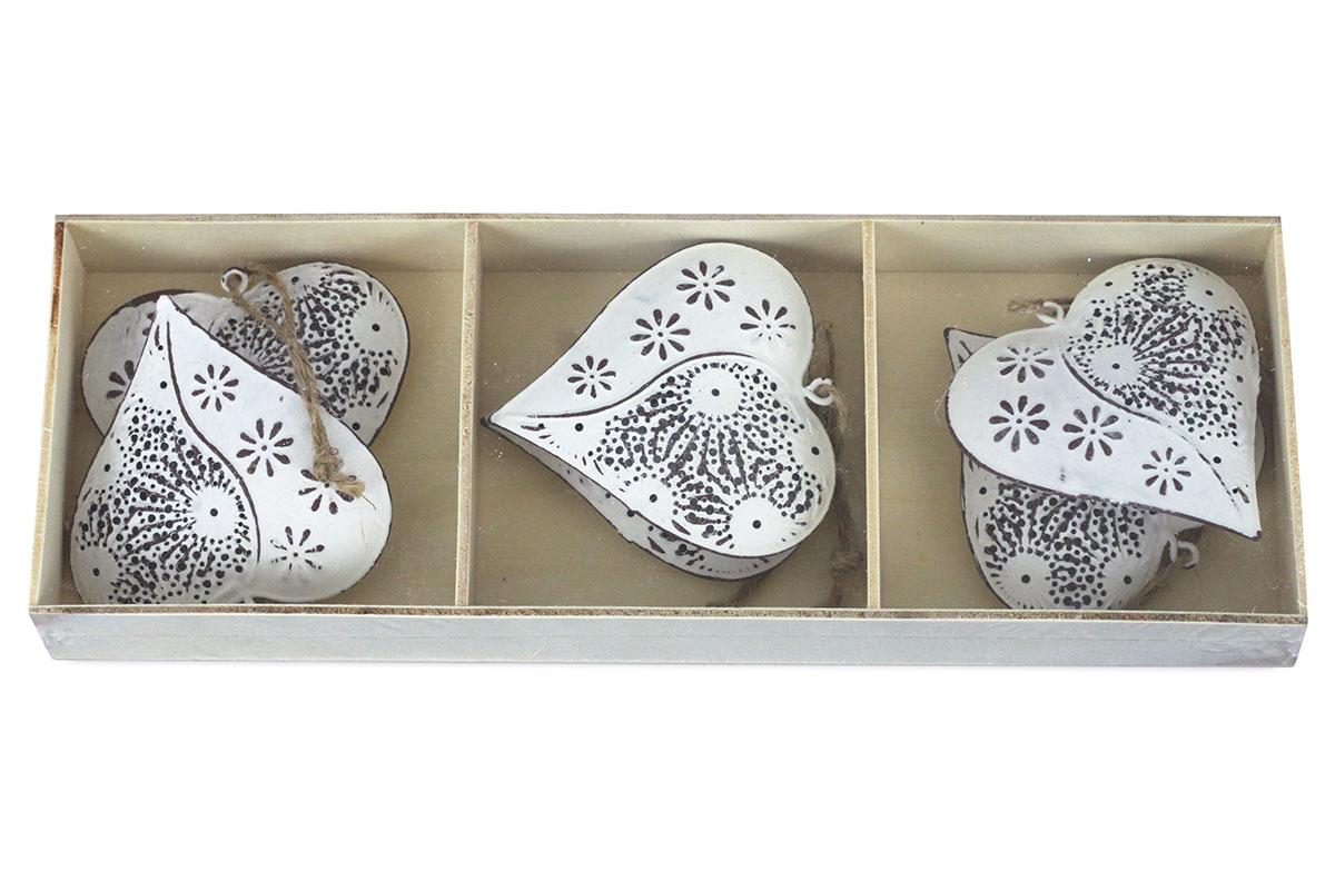 Srdíčko, 6 kusů v krabičce, dekorace z kovu, cena za 1  krabičku