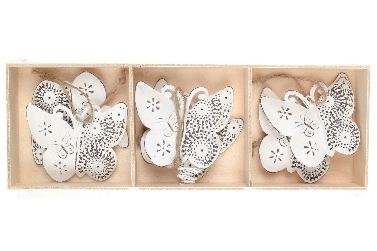 Motýľ, 6 ks v krabičke, dekorácia z kovu, cena za 1  krabičku