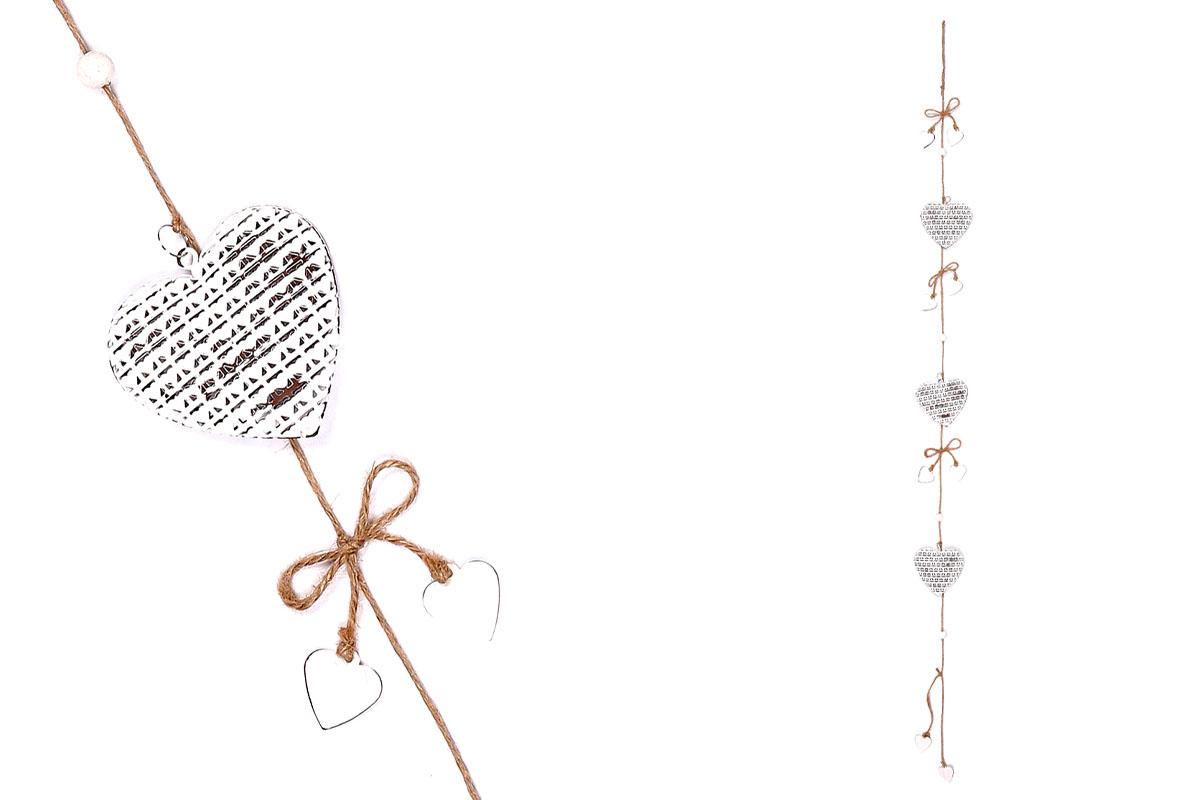 Girlanda, 3 srdíček,  dekorace z kovu