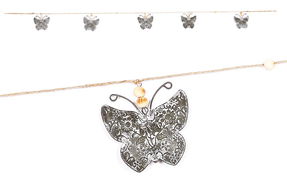 Girlanda, 5motýlků,  dekorace z kovu