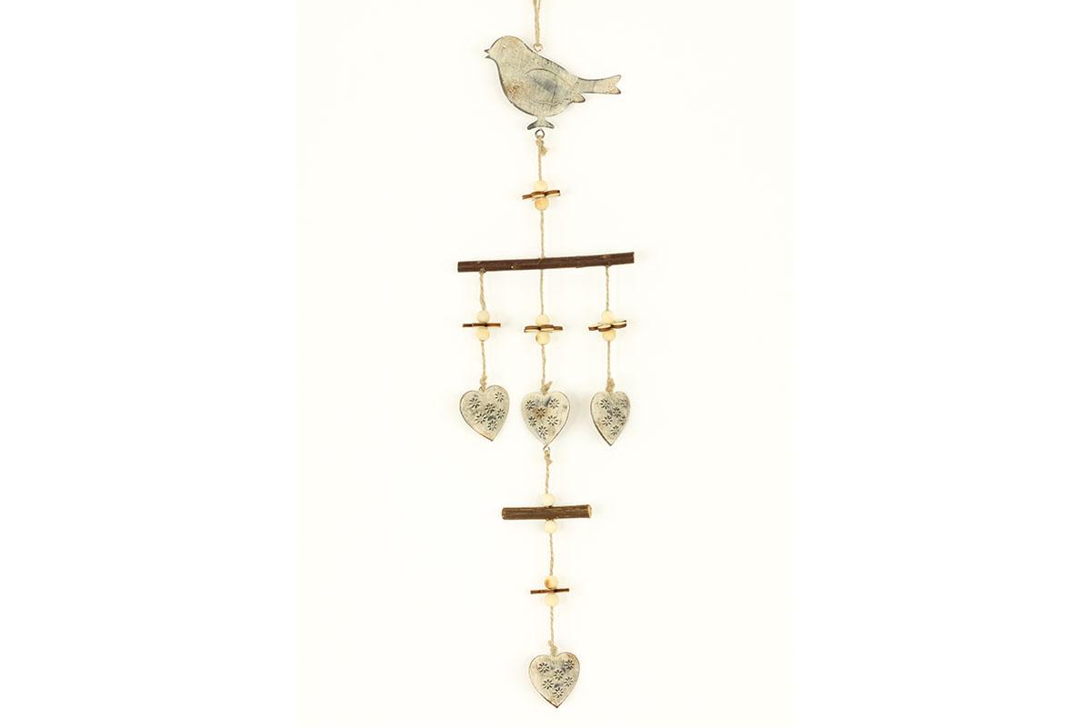 Ptáček,  kovová dekorace na pověšení