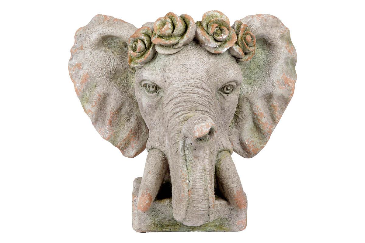 Hlava slona, dekorace z MgO keramiky s otvorem pro květináč