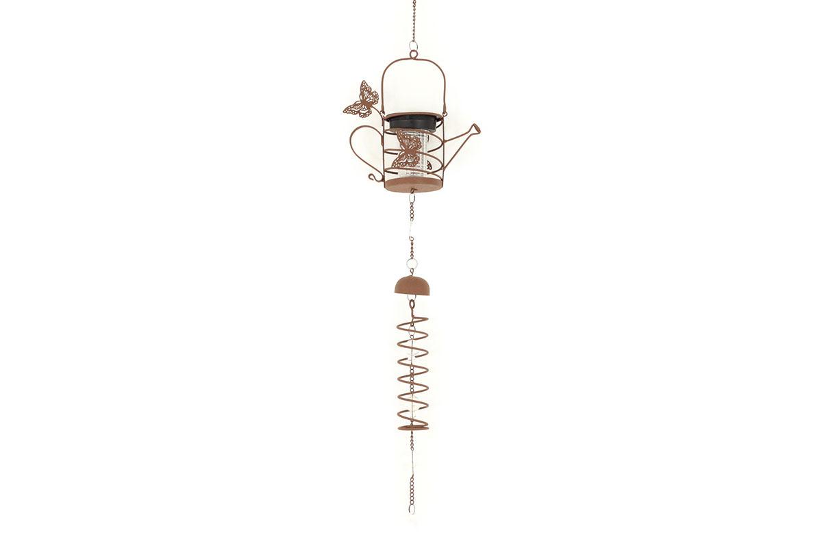 Zvonkohra, kovová dekorácia so svetlom (batérie na solárne dobíjanie)