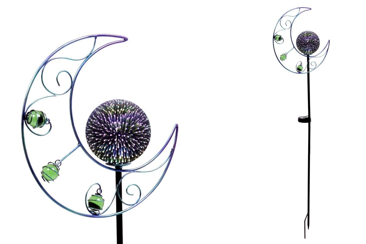 Kovová zahradní solární dekorace - zápich koule s měsícem