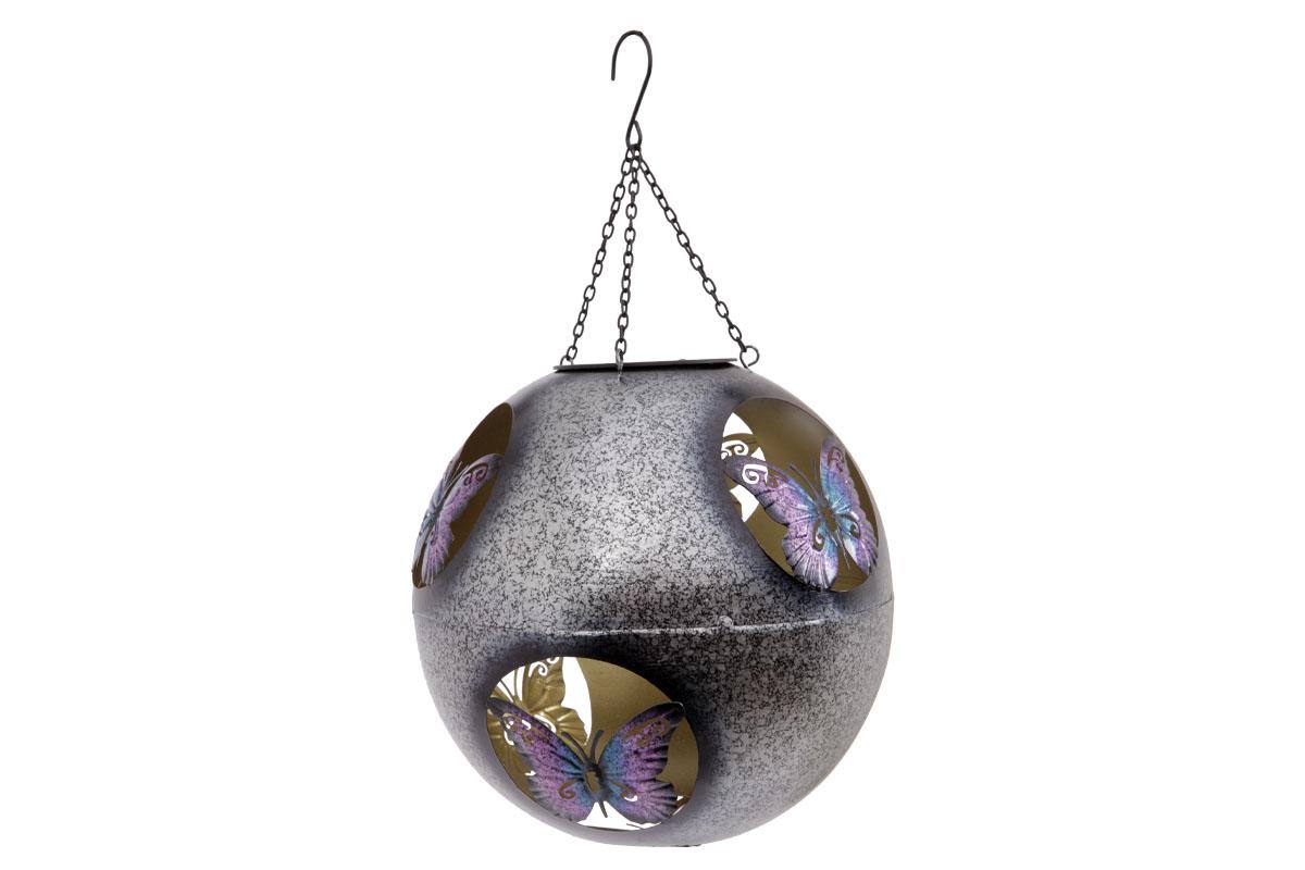 Kovová zahradní solární dekorace - koule na zavěšení, dekor motýl