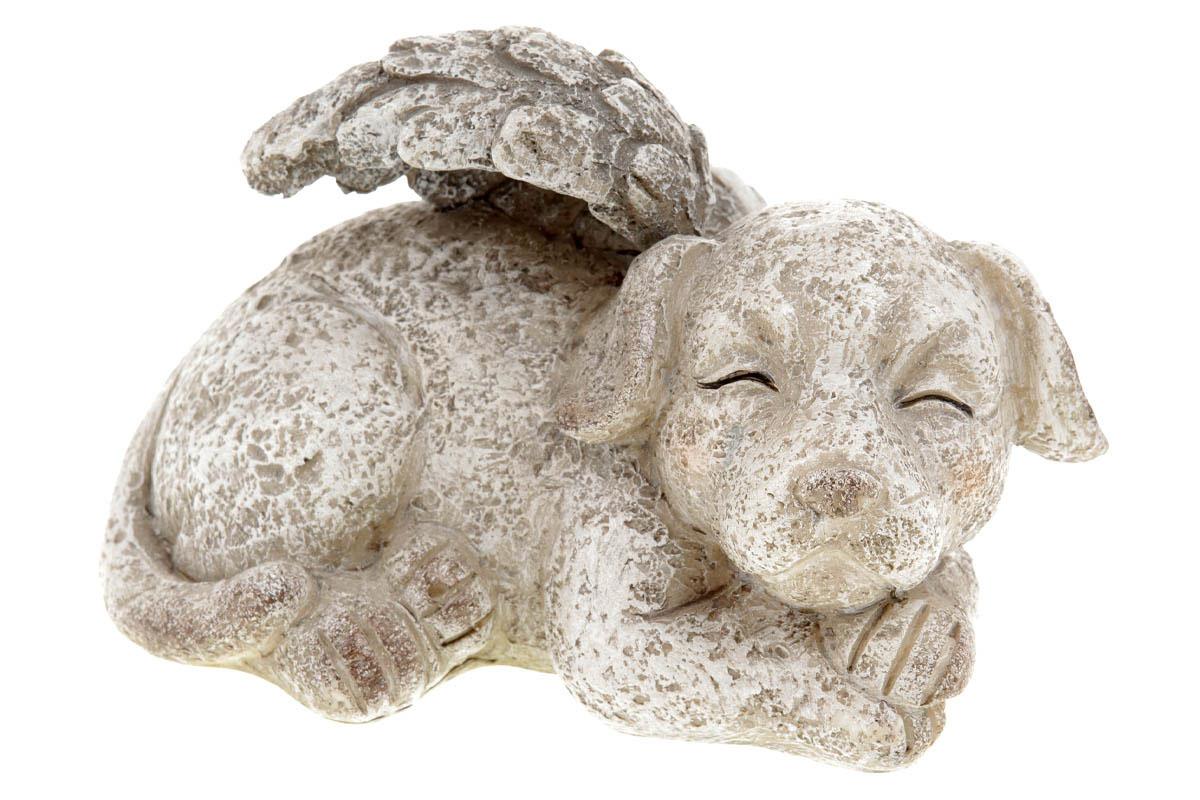 Pes s andělskými křídky,  dekorace z polyresinu.