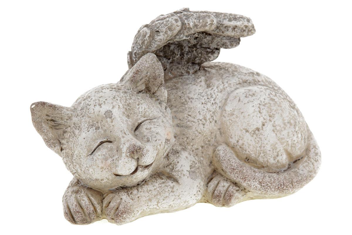 Kočka s andělskými křídky,  dekorace z polyresinu.