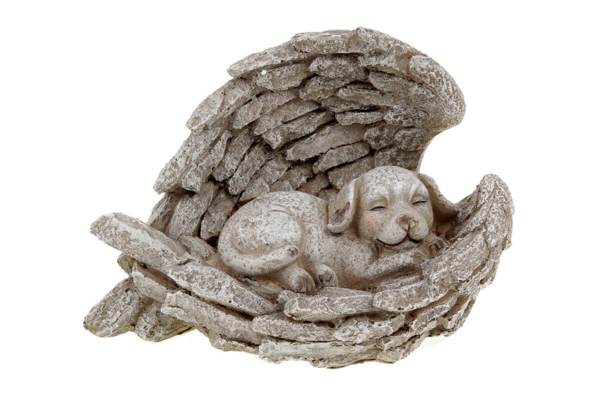 Andělská křídla se psem,  dekorace z polyresinu.