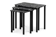 Přístavné a odkládací stolky, set 3 ks, deska černý mramor, kovové nohy, černý m