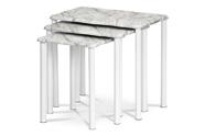 Přístavné a odkládací stolky, set 3 ks, deska šedobílý mramor, kovové nohy, bílý