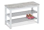Botník / taburet, 2 kovové chromované police, deska MDF v dekoru šedobílý mramor