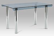 Jídelní stůl 130x80x75 cm, kouřové sklo, nohy lesklý chrom