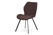 Jídelní židle, potah hnědá látka, kovová čtyřnohá podnož, antracitový matný lak