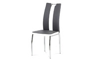 Jídelní židle, potah kombinace šedé a bílé ekokůže, kovová čtyřnohá chromovaná p