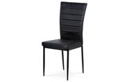 Jídelní židle, černá látka imitace broušené kůže, kov černý mat