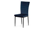 Jídelní židle, modrá látka samet, kov černý mat