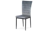 Jídelní židle, šedá látka samet, kov černý mat